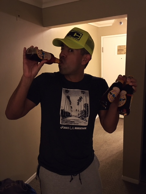 Ree doing his tradition - 3 beers before every race!